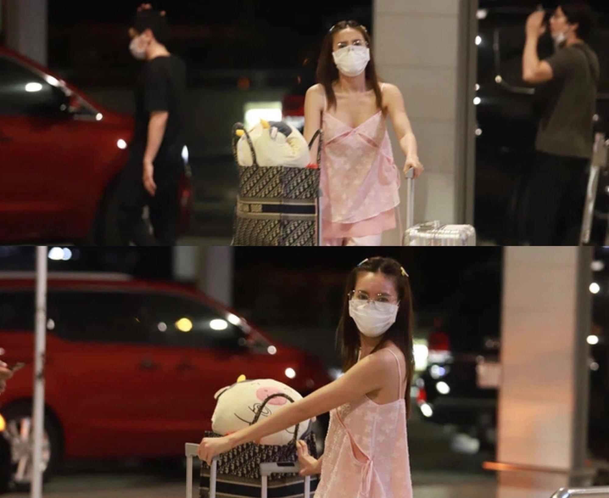 Ninh Dương Lan Ngọc chọn trang phục khá thoải mái đến sân bay